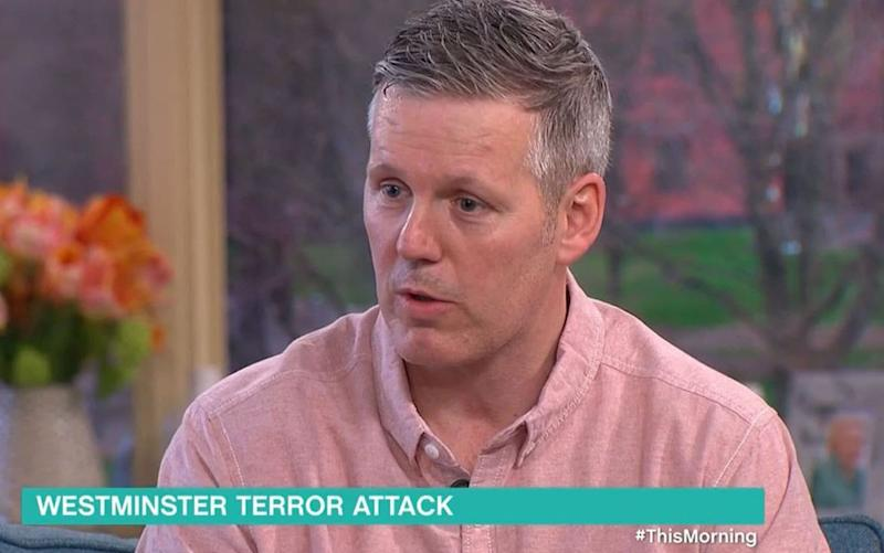 Tony Davis, who was first on the scene of the Westminster attack, speaks on ITV's This Morning programme - Credit: ITV