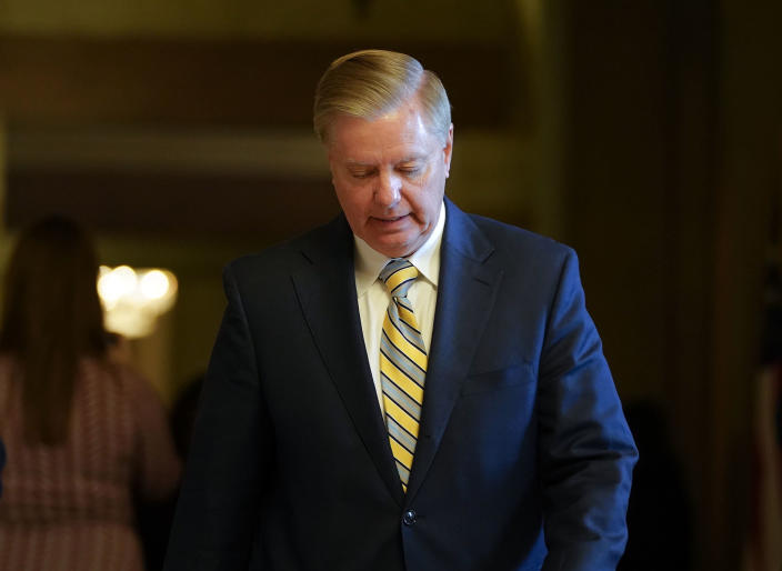 Sen. Lindsey Graham, R-S.C., leaves a meeting at the office of Senate Majority Leader Mitch McConnell, R-Ky., at the Capitol in Washington, Tuesday. (Photo: AP/Pablo Martinez Monsivais)