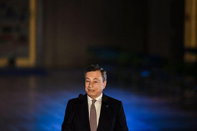 Italy's Prime Minister Mario Draghi delivers a statement during the 8th MED7 Mediterranean countries summit in Athens, on September 17, 2021. (Photo by ANGELOS TZORTZINIS / AFP) (Photo by ANGELOS TZORTZINIS/AFP via Getty Images) (Photo: ANGELOS TZORTZINIS via Getty Images)