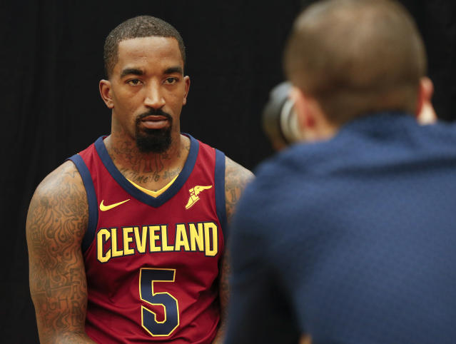 "Cavaliers guard <a class=""link rapid-noclick-resp"" href=""/nba/players/3835/"" data-ylk=""slk:J.R. Smith"">J.R. Smith</a> poses for a portrait on media day last month. (AP)"
