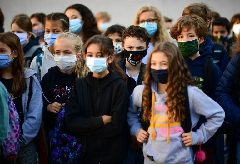 French teachers and their pupils aged 11 and older were obliged to wear face coverings, echoing regulations in place across the continent