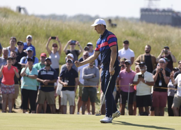 United States' Jordan Spieth celebrates an eagle on the 7th green during the final round of the British Open Golf Championship at Royal St George's golf course Sandwich, England, Sunday, July 18, 2021. (AP Photo/Ian Walton)