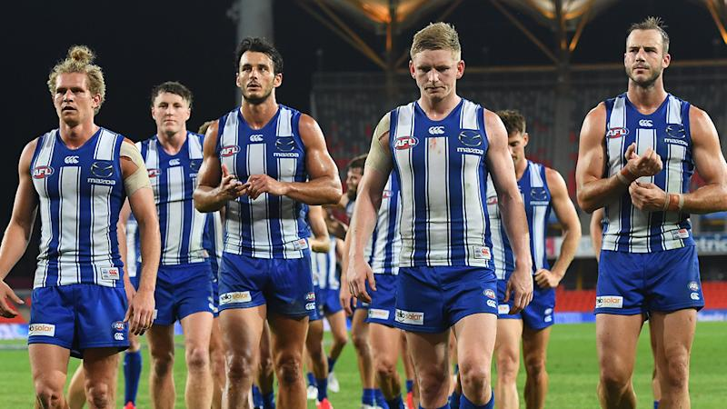 North Melbourne's disastrous 2020 season has culminated in 11 players being cut from the team after their season concluded. (Photo by Quinn Rooney/Getty Images)