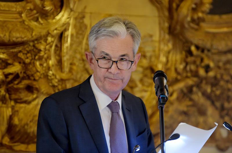 "US Federal Reserve Board Chairman Jerome Powell addresses a dinner following the Conference ""Bretton Woods: 75 years later - Thinking about the next 75 years"" at the Banque de France headquarters in Paris on July 16, 2019. (Photo by ERIC PIERMONT / AFP) (Photo credit should read ERIC PIERMONT/AFP/Getty Images)"