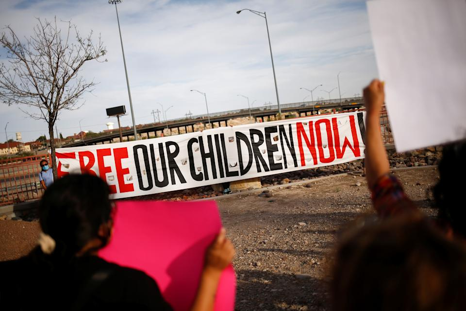 Activists defending the rights of migrants hold a protest near Fort Bliss to call for the end of the detention of unaccompanied minors at the facility in El Paso, Texas, U.S, June 8, 2021.  (Jose Luis Gonzalez/Reuters)