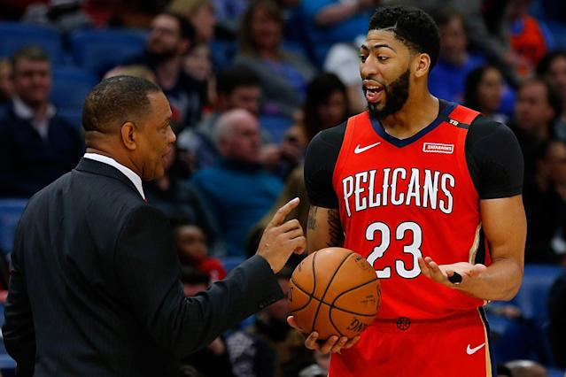 """<a class=""""link rapid-noclick-resp"""" href=""""/nba/players/5007/"""" data-ylk=""""slk:Anthony Davis"""">Anthony Davis</a> indicated he'd be open to playing for the <a class=""""link rapid-noclick-resp"""" href=""""/nba/teams/boston/"""" data-ylk=""""slk:Celtics"""">Celtics</a>. (Photo by Jonathan Bachman/Getty Images)"""
