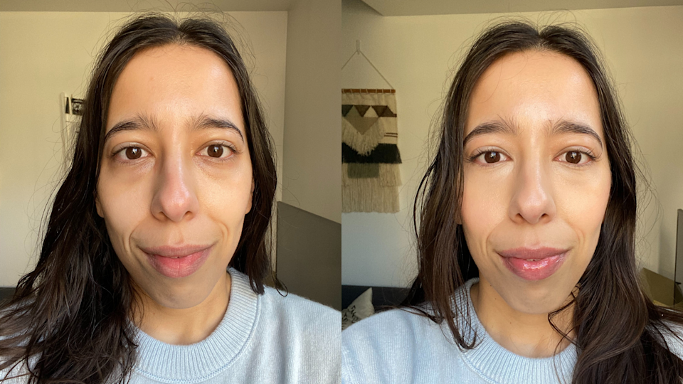 Before and after applying Tarte Shape Tape in shade 29N. Images courtesy of Kate Mendonca.