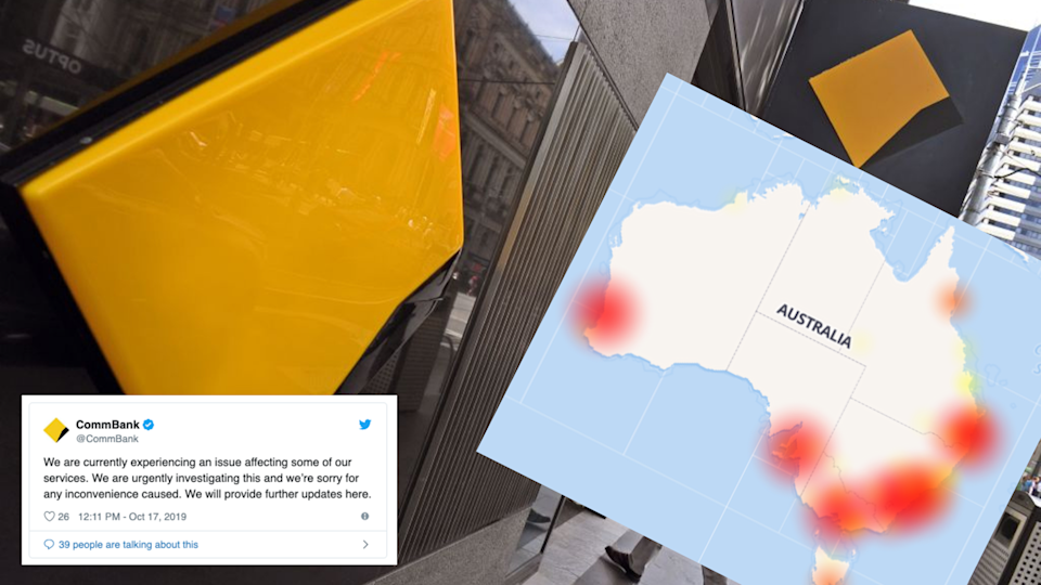 Is the CommBank outage leaving you starving? Images: Getty, DownDetector, Twitter (Commonwealth Bank)