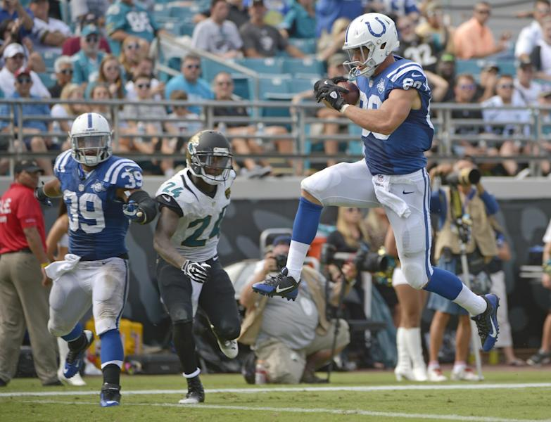 Indianapolis Colts tight end Coby Fleener (80) leaps across the goal line in front of Jacksonville Jaguars cornerback Will Blackmon (24) as teammate fullback Stanley Havili (39) looks, on a 31-yard touchdown pass play during the second half of an NFL football game against the Jacksonville Jaguars in Jacksonville, Fla., Sunday, Sept. 29, 2013..(AP Photo/Phelan M. Ebenhack)