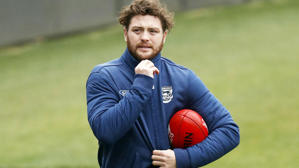 Jack Steven, pictured here back at Geelong training on Monday.