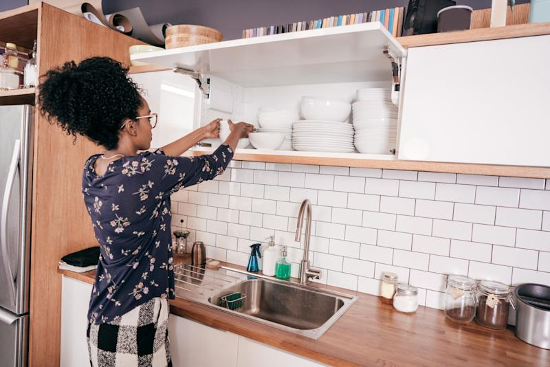 Owner organizing the kitchen