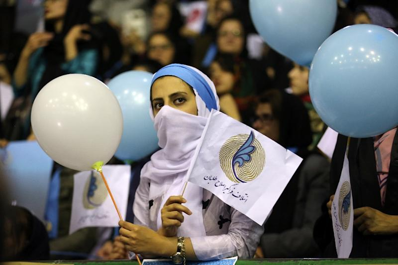 Iranian women attend a reformist campaign rally in Tehran ahead of parliamentary elections in February 2016