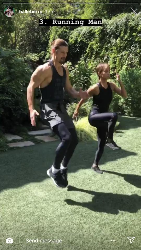 "<p>The third move Halle shared is the running man, also know as <a rel=""nofollow"" href=""https://www.popsugar.com/fitness/photo-gallery/37392905/image/37393015/High-Knees"">high knees</a>.</p>"