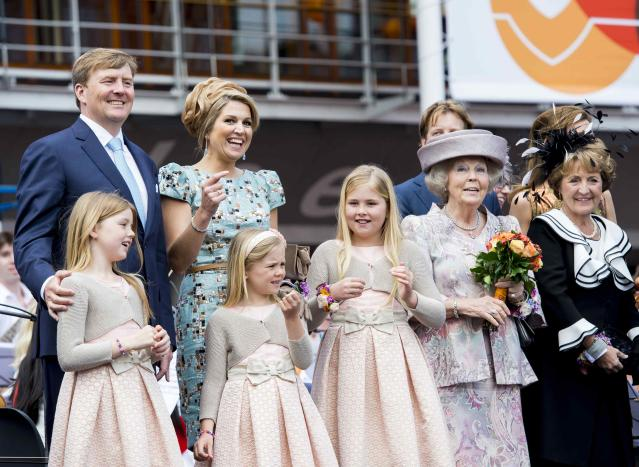 King Willem Alexander and Queen Maxima of the Netherlands and their daughters Amalia, Ariane and Alexia and Princess Beatrix and Princess Margriet pose for photographers on the first King's Day in Amstelveen