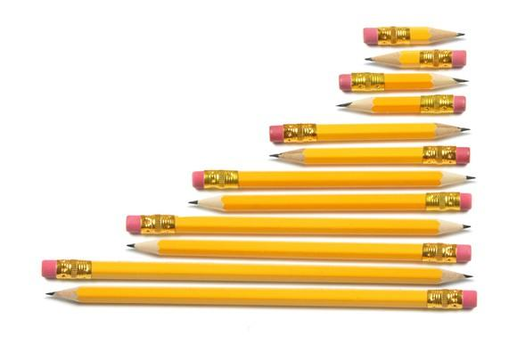 Short pencils and long pencils.