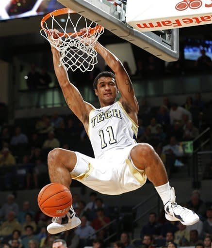 Georgia Tech guard Chris Bolden dunks during the first half of an NCAA college basketball game against Alabama State on Monday, Dec. 17, 2012, in Atlanta. (AP Photo/John Bazemore)