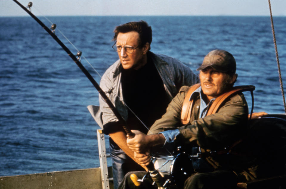 American actor Roy Scheider and British actor Robert Shaw on the set of Jaws, directed by Steven Spielberg. (Photo by Sunset Boulevard/Corbis via Getty Images)