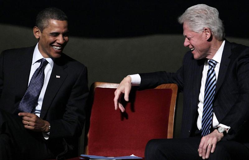 """FILE - In this Jan. 14, 2011 file photo, President Barack Obama laughs with former President Bill Clinton in Washington. President Barack Obama is getting a little help from former President Bill Clinton at a trio of campaign fundraisers in New York. The presidential duo will speak at a high-dollar fundraiser at a private home, then headline a gala at the Waldorf Astoria hotel. Obama and Clinton will end the night at an event dubbed """"Barack on Broadway"""" at the New Amsterdam Theatre. (AP Photo/Carolyn Kaster, File)"""