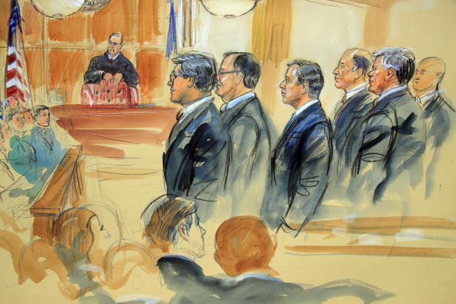 <p>This courtroom sketch depicts Paul Manafort, fourth from right, standing with his lawyers in front of U.S. district Judge T.S. Ellis III, center rear, and the selected jury, seated left, during the jury selection of his trial at the Alexandria Federal Courthouse in Alexandria, Va., Tuesday, July 31, 2018. (Photo: Dana Verkouteren via AP) </p>