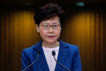 FILE PHOTO: Hong Kong Chief Executive Carrie Lam speaks to media over an extradition bill in Hong Kong