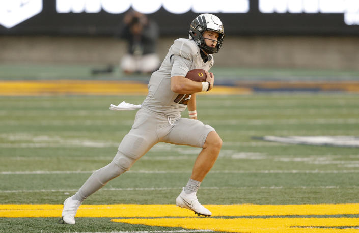 Former Oregon QB Tyler Shough could be on the verge of a breakout season at Texas Tech. (Photo by Ezra Shaw/Getty Images)
