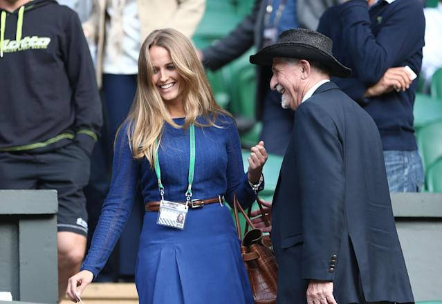 LONDON, ENGLAND - JULY 06: Kim Sears makes her way to her seat on Centre Court on day eleven of the Wimbledon Lawn Tennis Championships at the All England Lawn Tennis and Croquet Club on July 6, 2012 in London, England. (Photo by Paul Gilham/Getty Images)