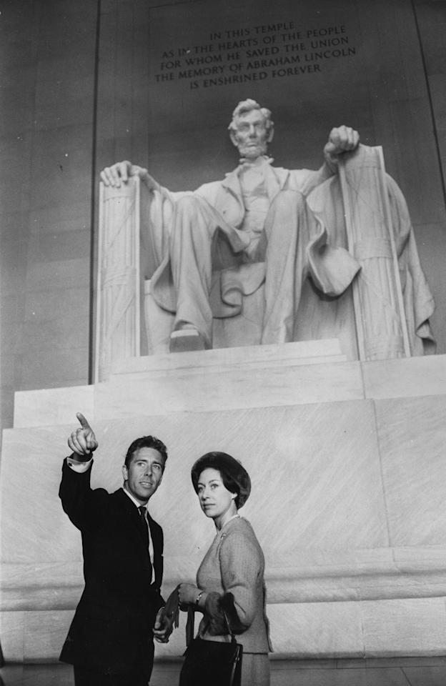 Lord Snowdon and Princess Margaret at the Lincoln memorial in Washington D.C. during their royal tour of America in November 1965.