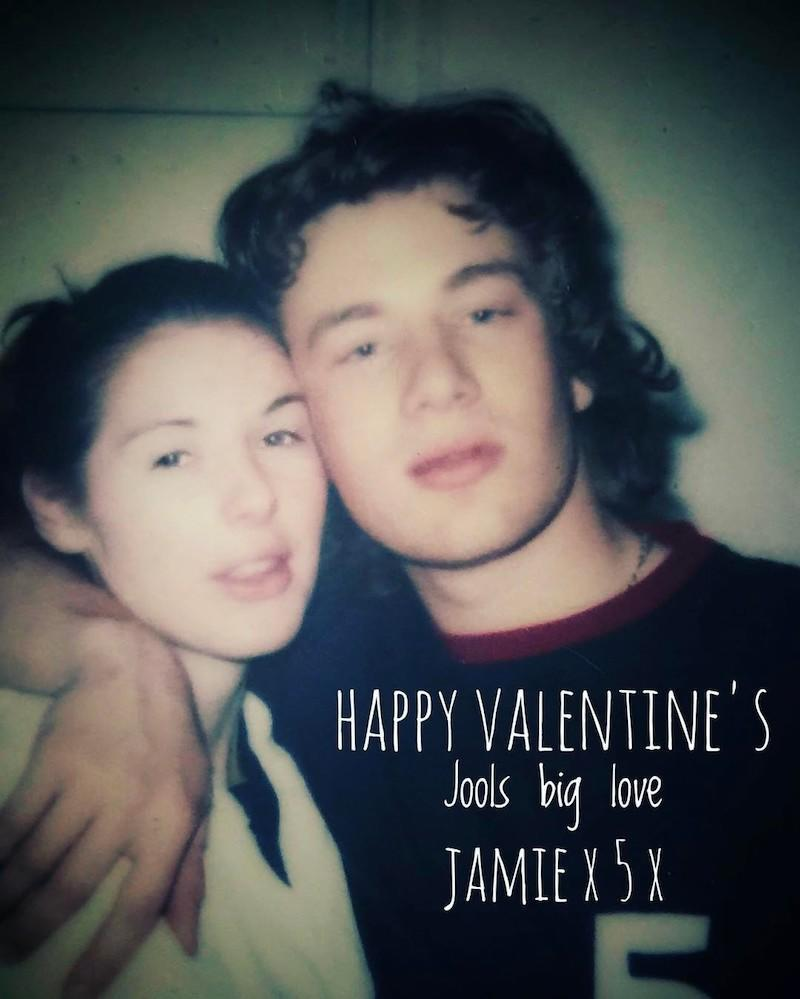 """<p>The celeb chef went back to the beginning for this love note to wife Jools. """"Happy valentines my darling @joolsoliver hope you liked your home made card !! A great old photo from our first valentines 1996…Your the Best have a great day Loadsa love jox x x ………"""" (Photo: <a rel=""""nofollow noopener"""" href=""""https://www.instagram.com/p/BQfDX9JFxnH/"""" target=""""_blank"""" data-ylk=""""slk:Instagram"""" class=""""link rapid-noclick-resp"""">Instagram</a>) </p>"""