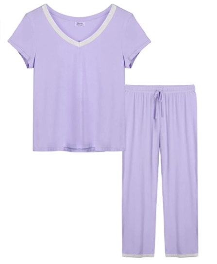 Bamboo Pajama V-Neck Short Sleeves Top with Pants, S$51.94. PHOTO: Amazon