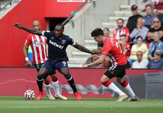 Michail Antonio (left) endured a frustrating afternoon at Southampton