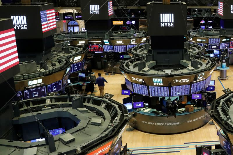 The floor of the theNewYorkStockExchange(NYSE) is seen after the close of trading inNewYork