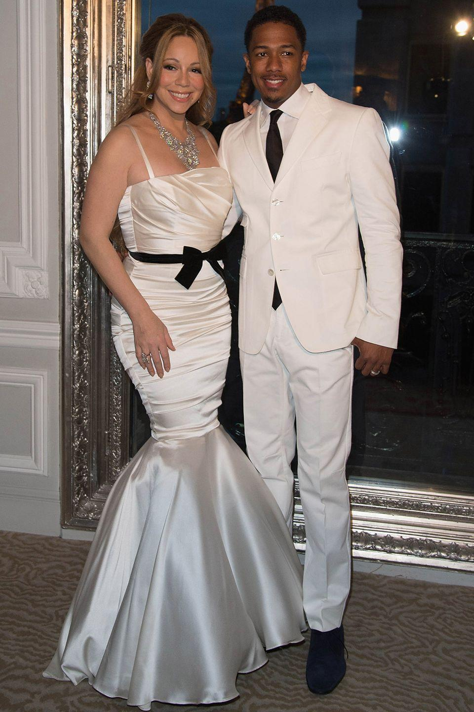 <p>Mimi looked gorgeous in a silky mermaid-style gown that she wore to her wedding vow renewal with then-husband Nick Cannon. </p>