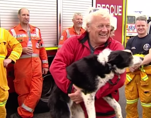 Jimmy reunited with his owner after the harrowing rescue. Source: 9News