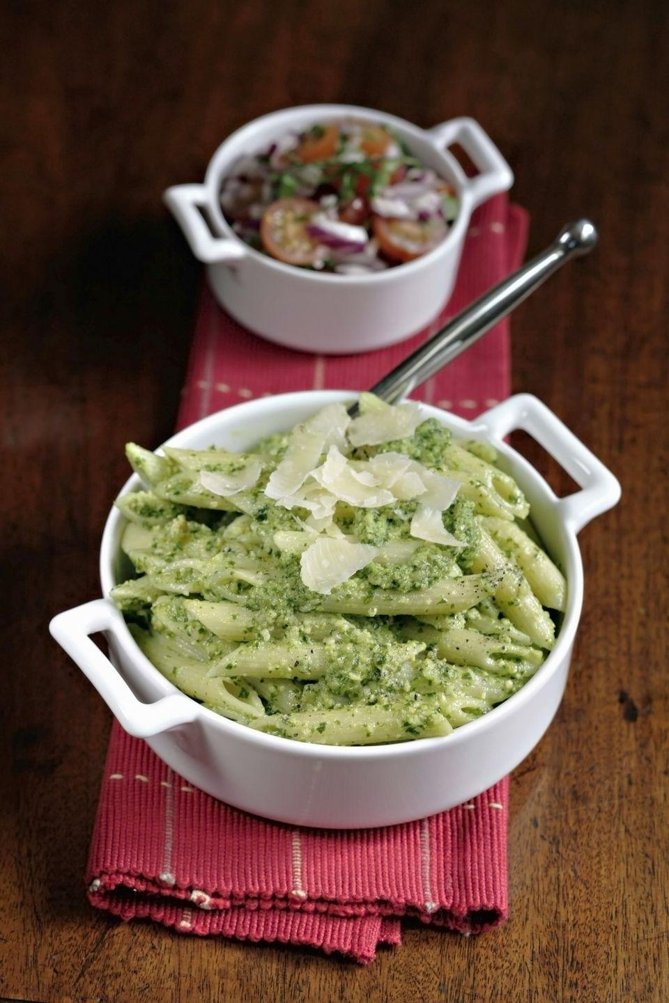 """<p>Verdant and versatile, pesto sauce is something every home cook should master. This version keeps it simple with baby spinach, salty pecorino, roasted almonds, and a bit of lemon for brightness.</p><p><a href=""""https://www.womansday.com/food-recipes/food-drinks/recipes/a11886/spinach-pesto-with-pasta-recipe/"""" rel=""""nofollow noopener"""" target=""""_blank"""" data-ylk=""""slk:Get the Spinach Pesto with Pasta recipe."""" class=""""link rapid-noclick-resp""""><em>Get the Spinach Pesto with Pasta recipe.</em></a></p>"""