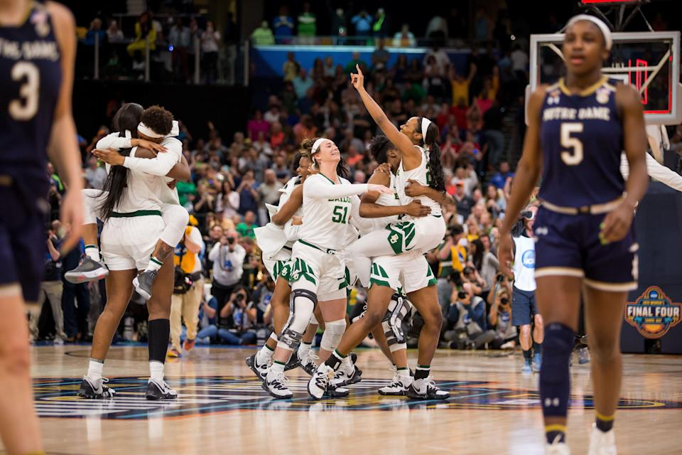 TAMPA, FL - APRIL 07: The Baylor Bears celebrate winning the NCAA Division I Women's National Championship Game against the the Notre Dame Fighting Irish on April 07, 2019, at Amalie Arena in Tampa, Florida. (Photo by Mary Holt/Icon Sportswire via Getty Images)