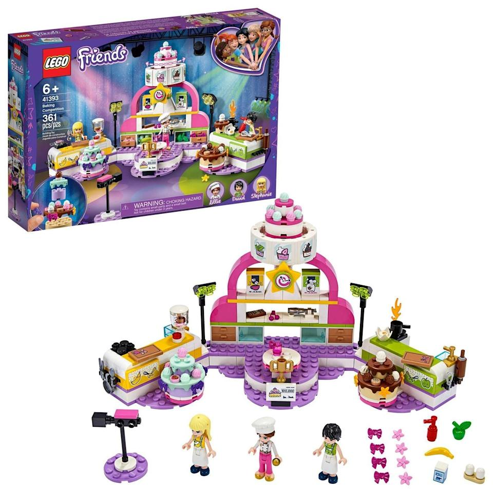 <p>The <span>Lego Friends Baking Competition</span> ($40) has 361 pieces and is best suited for kids ages 6 and up.</p>