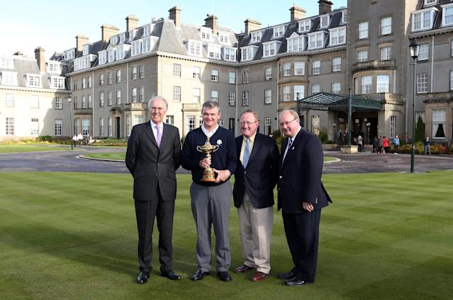 AUCHTERARDER, SCOTLAND - OCTOBER 03: Patrick Elsmie, Chief Executive of Gleneagles, Paul Lawrie of Scotland, Richard Hills, Ryder Cup Director and Paul Bush of Event Scotland during the offical handover of the Ryder Cup to The Gleneagles Hotel, the hosts of the 2014 event, at Gleneagles on October 3, 2012 in Auchterarder, Scotland. (Photo by Ross Kinnaird/Getty Images)