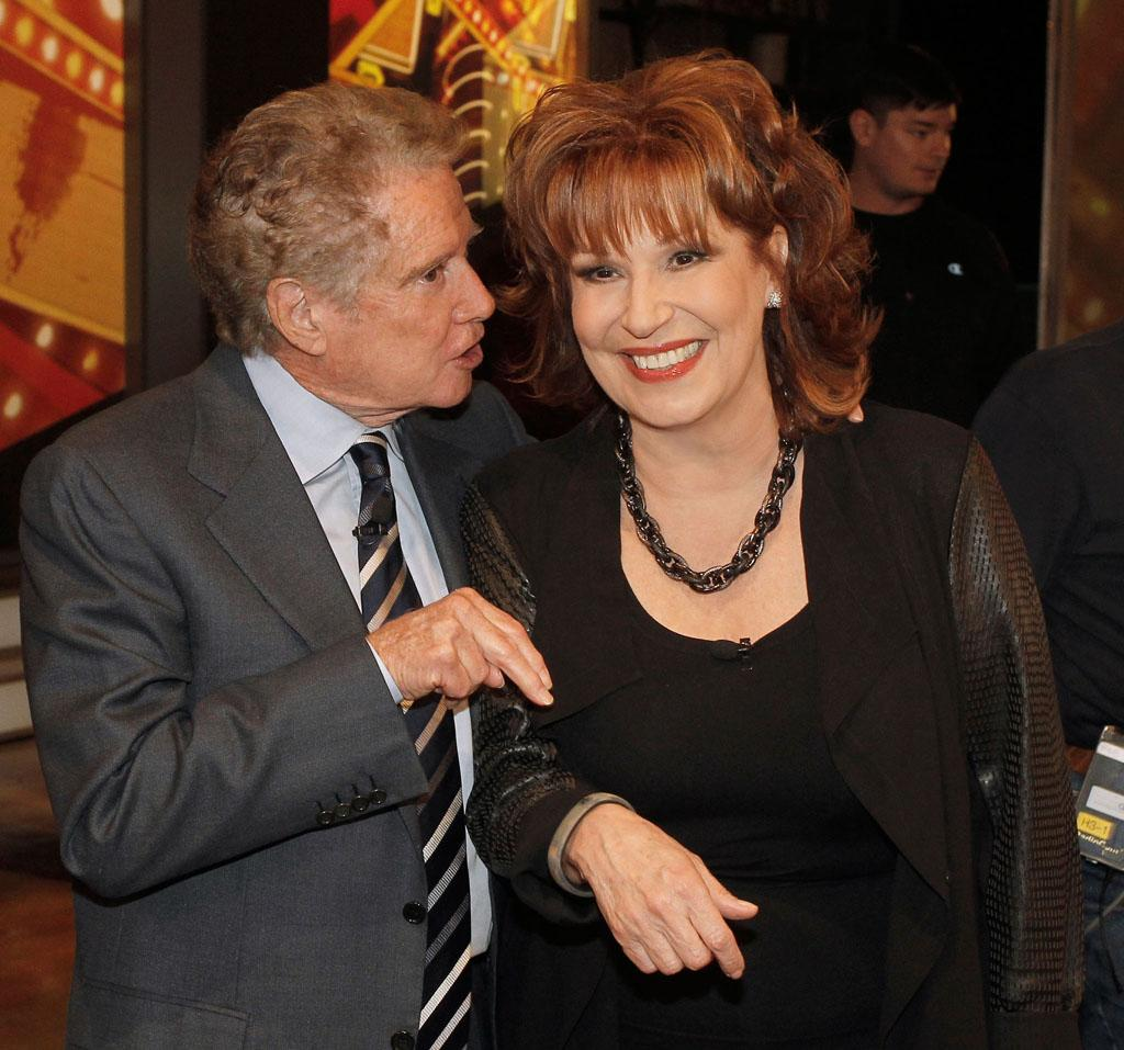 "Regis Philbin and Joy Behar on her final episode as co-host of ABC's ""The View"" on Friday, August 9, 2013."