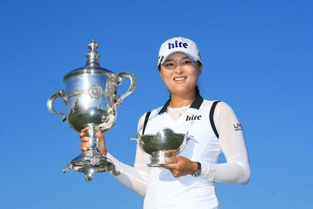 South Korea's Ko Jin-young might have the chance to defend her LPGA ANA Inspiration major golf title in September under coronavirus rescheduling announced Friday by the women's golf tour (AFP Photo/SAM GREENWOOD)