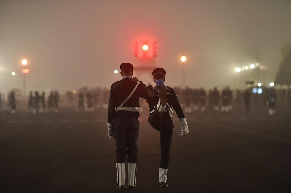 Indian Navy contingent practices during the rehearsals for Republic Day Parade 2021, at Rajpath in New Delhi, on Sunday, 17 January 2021.