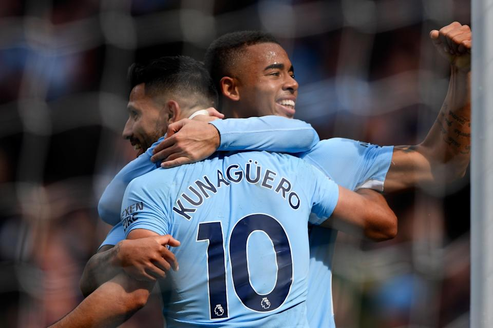 The strike partnership between Sergio Aguero and Gabriel Jesus is developing every week. (Getty)
