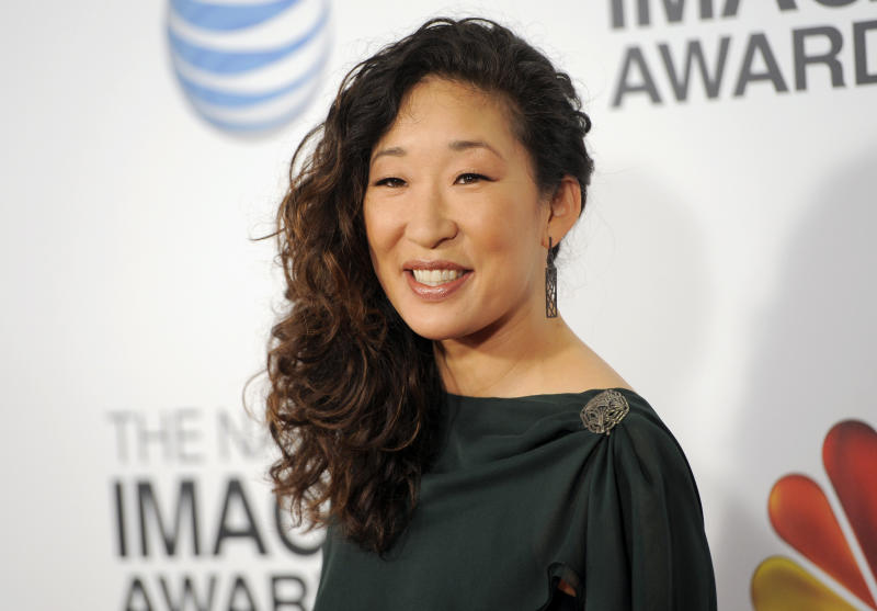 """FILE - In this Feb. 1, 2013 file photo, actress Sandra Oh arrives at the 44th Annual NAACP Image Awards at the Shrine Auditorium in Los Angeles. ABC says that """"Grey's Anatomy"""" star Sandra Oh is leaving the medical drama after the coming season. Shonda Rhimes, the show's creator and executive producer, said she's grateful for what she called the actress' """"brilliant"""" work. Rhimes said """"Grey's Anatomy"""" will savor Oh's character of Dr. Cristina Yang in the upcoming 10th season, and then give her the exit she deserves. (Photo by Chris Pizzello/Invision/AP, File)"""