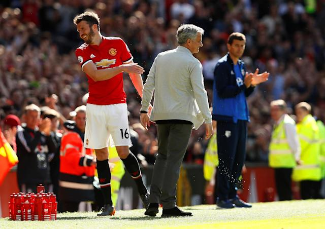 "Soccer Football - Premier League - Manchester United vs Watford - Old Trafford, Manchester, Britain - May 13, 2018 Manchester United's Michael Carrick with manager Jose Mourinho after he was substituted for Paul Pogba Action Images via Reuters/Jason Cairnduff EDITORIAL USE ONLY. No use with unauthorized audio, video, data, fixture lists, club/league logos or ""live"" services. Online in-match use limited to 75 images, no video emulation. No use in betting, games or single club/league/player publications. Please contact your account representative for further details."