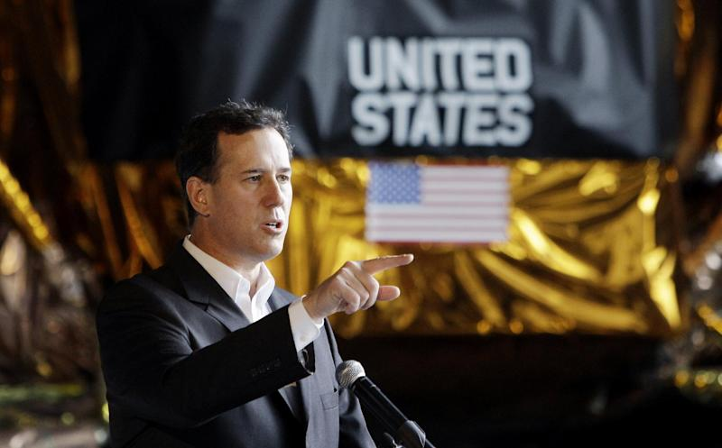 Republican presidential candidate, former Pennsylvania Sen. Rick Santorum speaks at the U.S. Space and Rocket Center, Thursday, March 8, 2012, in Huntsville, Alabama. (AP Photo/Eric Gay)