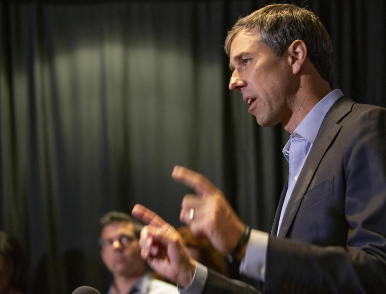 Democratic presidential candidate and former Texas U.S. Rep. Beto O'Rourke speaks at the SEIU Unions For All Summit, Saturday, Oct. 5, 2019, in Los Angeles. (AP Photo/Damian Dovarganes)