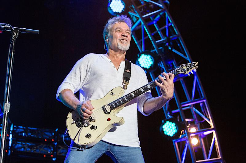 CHULA VISTA, CA - SEPTEMBER 30: Guitarist Eddie Van Halen of Van Halen performs on stage at Sleep Train Amphitheatre on September 30, 2015 in Chula Vista, California. (Photo by Daniel Knighton/Getty Images)