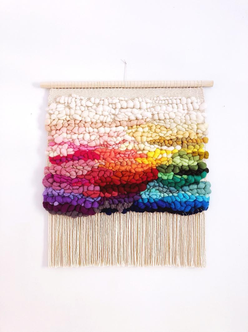 RAINBOW large woven wall hanging