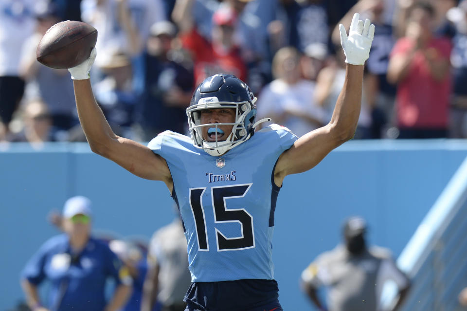 Tennessee Titans wide receiver Nick Westbrook-Ikhine celebrates after scoring a touchdown against the Indianapolis Colts in the first half of an NFL football game Sunday, Sept. 26, 2021, in Nashville, Tenn. (AP Photo/Mark Zaleski)