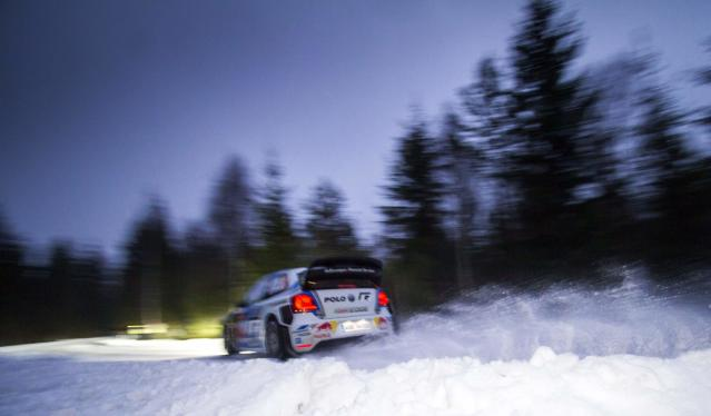 France's Sebastien Ogier drives his Volkswagen Polo R WRC during the shakedown of Rally Sweden 2014, in Hagfors February 5, 2014. REUTERS/Micke Fransson/TT News Agency (SWEDEN - Tags: SPORT MOTORSPORT) FOR EDITORIAL USE ONLY. NOT FOR SALE FOR MARKETING OR ADVERTISING CAMPAIGNS. THIS IMAGE HAS BEEN SUPPLIED BY A THIRD PARTY. IT IS DISTRIBUTED, EXACTLY AS RECEIVED BY REUTERS, AS A SERVICE TO CLIENTS. SWEDEN OUT. NO COMMERCIAL OR EDITORIAL SALES IN SWEDEN. NO COMMERCIAL SALES