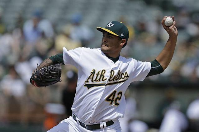 Sean Manaea was pulled during a no-hitter on Saturday. (AP)